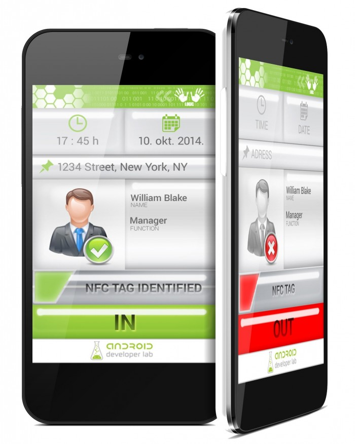 Android time NFC attendance user interface