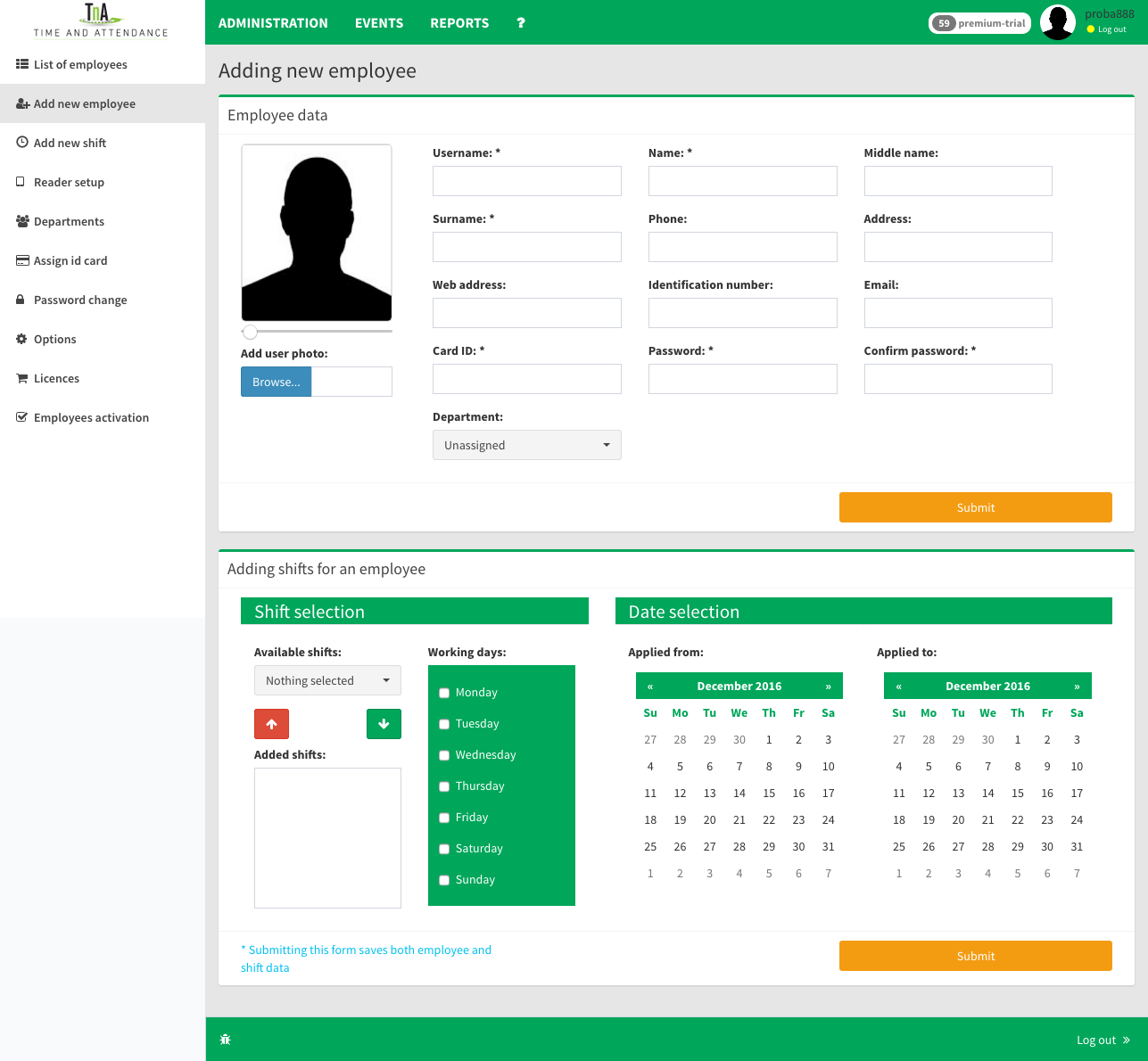 Add new user to system