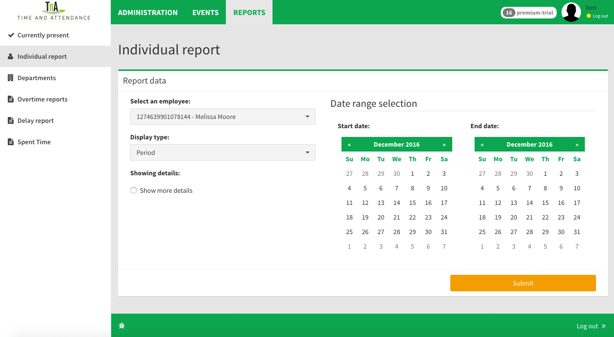 reports individually for time sheet