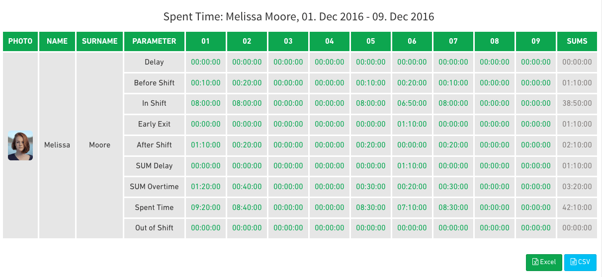 spent time report of system of time and attendance